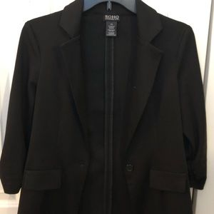 SOHO Apparel Black Blazer with 3/4 ruched sleeves
